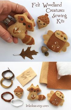 Sew your own adorable mini felt woodland creatures with a kit from little dear! You'll love stitching up a tiny new felt animal friend with this fun and easy DIY craft kit. Felt Crafts Patterns, Yarn Crafts, Fabric Crafts, Sewing Toys, Sewing Crafts, Easy Diy Crafts, Crafts For Kids, Felt Embroidery, Needle Felted