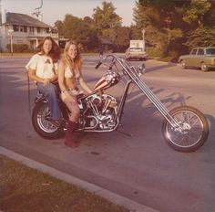 Old School Choppers #biker #chopper #custom #girl #woman