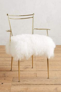 Anthropologie Shag Puff Dressing Chair, Home Accessories, Mongolian fur upholstery. Dressing Chair, Dressing Room, Decoration Table, Gold Decorations, Beauty Room, My New Room, Home Collections, Home Furniture, Furniture Chairs
