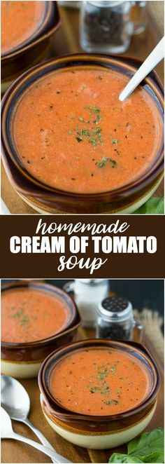 of Tomato Soup Homemade Cream of Tomato Soup - Hot and tasty and made with a few simple ingredients!Homemade Cream of Tomato Soup - Hot and tasty and made with a few simple ingredients! Cream Soup Recipes, Tomato Soup Recipes, Chili Recipes, Simple Soup Recipes, Tomato Soup Recipe With Milk, Recipe Of Tomato Soup, Hot Pepper Soup Recipe, Drink Recipes, Best Soup Recipes