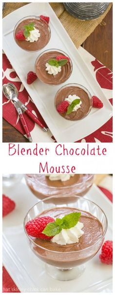 Blender Chocolate Mousse The easiest chocolate mousse ever!!!