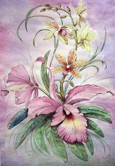 wild orchid by akari-hino on DeviantArt Watercolor Flowers Tutorial, Watercolor Art, Pencil Drawings Of Flowers, Art Drawings, Art Floral, Orchid Images, Wild Orchid, Botanical Flowers, Fabric Painting