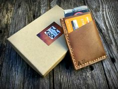 No. 1 Front Pocket Wallet PERSONALIZED Minimalist by NiceLeather1