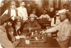 Faro is a gambling card game that originated in France in the late century. It soon spread to America and became the favored game in the Old West. Westerns, Old West Saloon, Las Vegas, Unexplained Phenomena, Into The West, Wyatt Earp, American Frontier, Le Far West, Coincidences