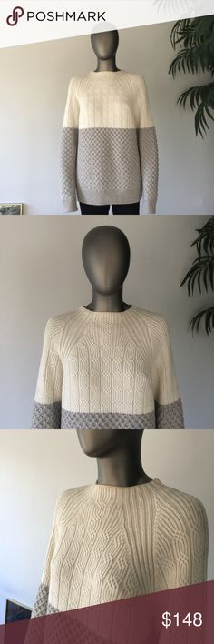 Selling this PROENZA SCHOULER Mix Cable Knit Sweater Gray White on Poshmark! My username is: theghetescloset. #shopmycloset #poshmark #fashion #shopping #style #forsale #Proenza Schouler #Sweaters