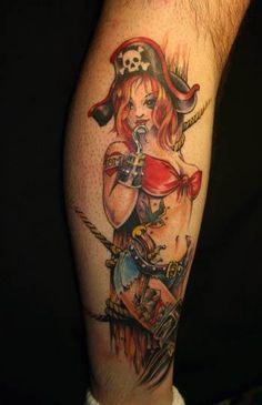 Pirate Pin Up Tattoo Designs