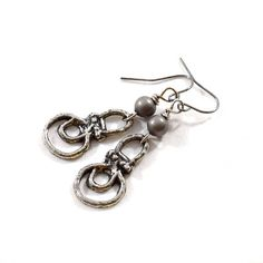Simple Pewter Earrings Pewter Earrings Wire Earrings Boho