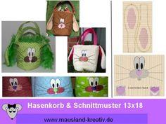 Stickdatei Hasenkorb & Schnittmuster 13x18