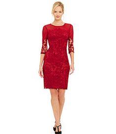 Adrianna Papell Cutaway Lace Sheath Dress