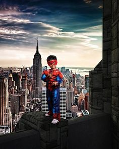 Superhero Digital Background, Super Hero Cosplay Backdrop, New York City Rooftop, Superhero Backdrop, Composite Photography Background Super Hero Photography, Cute Photography, Themed Photography, Superhero Backdrop, Superhero Background, Spiderman Pictures, Spiderman Kids, Superhero Cosplay, Spiderman Cosplay