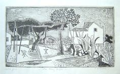 John Craxton works   Winter Panorama etching, c1958 artist's proof, signed and inscribed 'for Henry Miller' etching
