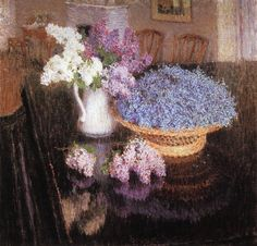 Igor Grabar (Russian, 1871-1960). Lilacs and Forget-Me-Nots. 1905. Oil on canvas.