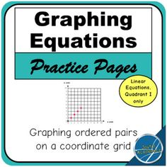 Practice graphing equations on coordinate grids. All equations are linear equations. All graphs are in Quadrant I only, so students can explore graphing equations without prior knowledge of negative numbers. Equations are presented in y = mx + b form, starting with graphing y = x, and then slowly incorporating addition, subtraction, and multiplication.