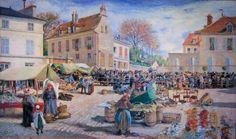 Ludovic PIETTE - Le marché à la vollaile, place de l'Hôtel de Ville Pontoise. - 1876)