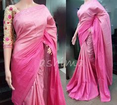 Code:0807164 - Shaded Tussar Silk Saree With Mirror Work Border And Embroidered Blouse, Price INR:8320/-