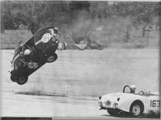 Vaulting end over end, 95 leaves ground as Shulter's car skids backward on dirt. Cowgirl Photo, Austin Healey Sprite, Mk 1, Checkered Flag, Automotive Art, Rally Car, Vintage Racing, Race Cars, Sprites
