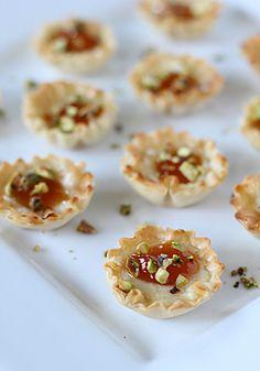 Brie, Apricot, and Pistachio Mini-Phyllo Cups