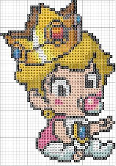 Baby Princess Peach - Page 2 Cross Stitch Love, Beaded Cross Stitch, Modern Cross Stitch, Cross Stitch Designs, Cross Stitch Embroidery, Cross Stitch Patterns, Melty Bead Patterns, Perler Patterns, Easy Pixel Art