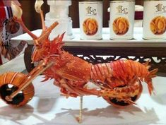 Food Art Motorcycle:  This one fascinates me by its artistry while still grossing me out a little