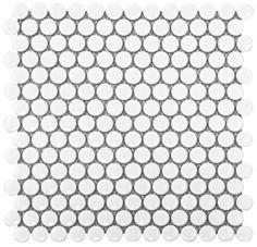 "Bridgewater Tiles - White Gloss Penny Round Glazed Porcelain Mosaic Tile 3/4"" Size (Item #BRIDGE-WW-PENNY-GLOSS; $5.95 SF)"