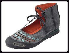 Vogstyle Damen Flach Leder Rund Schuhspitze Schnürung Sommer Schuh Schwarz EU36/CH37 - Hausschuhe für frauen (*Partner-Link)