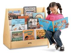 The Jonti-Craft Maplewave 1 Sided Pick-A-Book Stand has four cascading shelves to exhibit book titles. There's also a storage shelf on the back size for Big Book display. Fantastic for schools & playrooms.