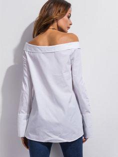 White Off The Shoulder Super Long Sleeve Shirt