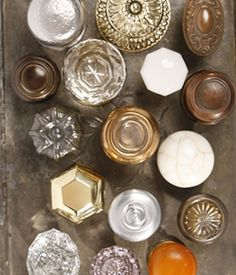 The craftsmanship of vintage door knobs: porcelain and metals and glass, oh my!  I hope to collect some & convert them to a row of wall hooks.