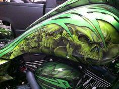 . Custom Paint Motorcycle, Motorcycle Tank, Airbrush Skull, Custom Tanks, Custom Helmets, Air Brush Painting, Harley, Bike Art, Paint Schemes
