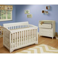 Sorelle Florence 4-in-1 Convertible Fixed-Side Crib, White