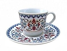 Coffee Cup And Saucer Set Espresso Or Turkish Size Service For 6 In A Red Velvety Case Sets
