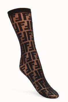 SOLD OUT! NWT FENDI Logo Print Nylon Socks, Black, One size  #Fendi #AnkleHigh