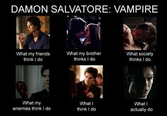 Damon Salvatore what my brother thinks I do, what society thinks I do, etc