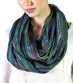 Anika Dali Festival Bliss Shimmer Infinity Loop Scarf (Festive Emerald Green) at Amazon Women's Clothing store:
