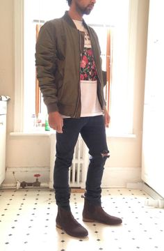 Bomber jackets ripped jeans and Chelsea boots. Killer fit