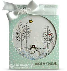 Today's card is a WOW, it's a shaker card. It's made with the Circle framelits, cut the circle and attach a window sheet to the back. then rim the back with either Stampin Dimensional (the edging w...