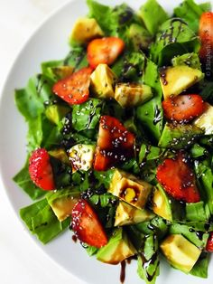 Avocado & Strawberry Salad with a Balsamic Reduction by Elizabeth's Kitchen Diary