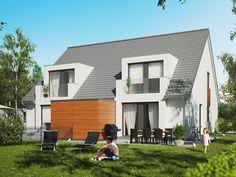Realistische 3D Visualisierung eines Doppelhauses. Das Wohngebäude wird hier von der Rückseite gezeigt.