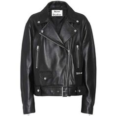 Acne Studios Merlyn Leather Jacket (15 985 SEK) ❤ liked on Polyvore featuring outerwear, jackets, leather jacket, coats & jackets, tops, black, leather jackets, acne studios jacket, real leather jackets and acne studios