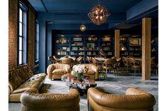 Ken Fulk - Oceanic Hues | California Home + Design Barbary Coast Library at The Battery social club- SF