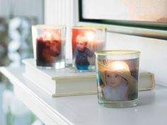 Photo Glass Votive Candles - Cherish your special memories by transferring your favorite photos onto glass votive candles. In less than an hour you can create these candles for any room in your house!