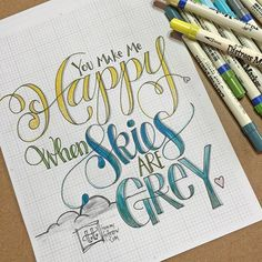 Lettering practice today with the prompt. When I color the word Happy it is almost always yellow. What is YOUR happy color? Hand Lettering Fonts, Doodle Lettering, Creative Lettering, Lettering Styles, Brush Lettering, Handwriting Analysis, Handwriting Fonts, Penmanship, Calligraphy Letters