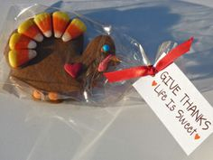 Cute little gift.  Mini Candy Corn Turkey Cookie by SweetDaniB.