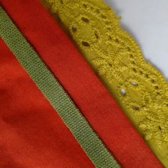 Natural dye colours - organic cotton voile, ribbon and broderie anglaise. Botanica Tinctoria