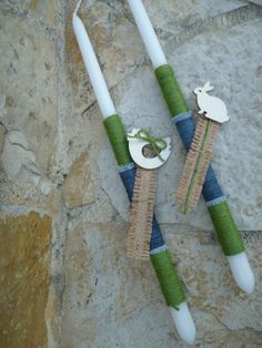 Denim with green rope and bookmarker with burlap and wooden decorative element