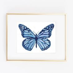 """Water color Butterfly Nursery Kids room Forest Print Colors Home Decoration Blue and White 0009. ▲ Limited edition art print. ▲ Printed on Beautiful Fine Paper. ▲Print Size: (8 x10"""", 11""""x14""""). No frame or matting are included with purchase."""
