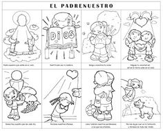 Lord's prayer colouring page in Spanish Religious Education, Kids Education, Jesus Ressuscité, Ccd Activities, Catholic Catechism, Wordless Book, Prayers For Children, Catholic Children, Bible Resources