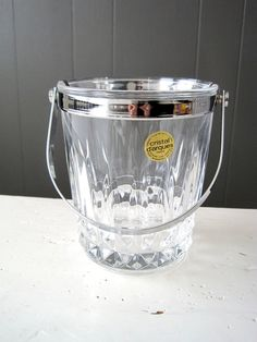 "Vintage French Crystal Ice Bucket D'Arques, Clear Lead Crystal, ""Tuilleries-Villandry"" Pattern - Made in France - Lead - Modern - Retro"