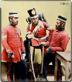 Century soldiers of the British Empire. From left to right- Sergeant Joseph John Stanton, Color-Sergeant Kester Knight, Private William Bruce.