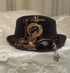 Steampunk Fedora Hat, Funky Club Accessory,  A true Steampunk Vintage Churchill Hat, RESERVED